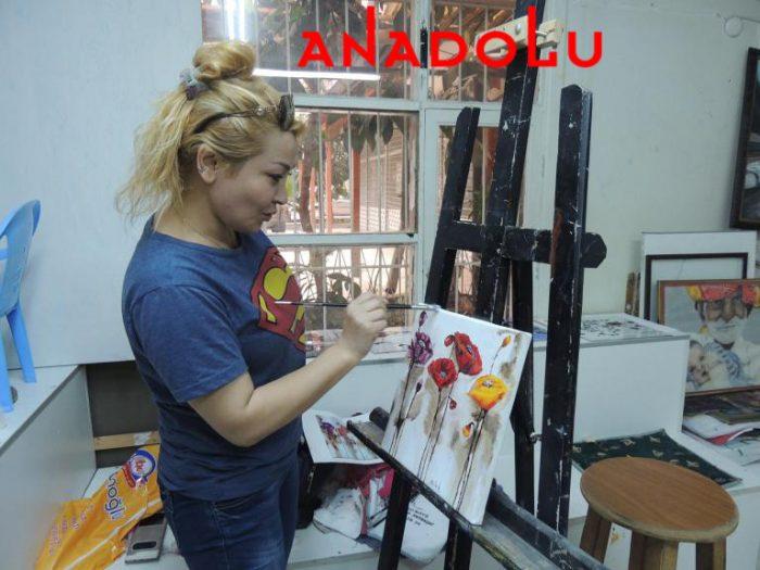 Hobi Grubu Dersi Yağlıboya Çiçekler İstanbul