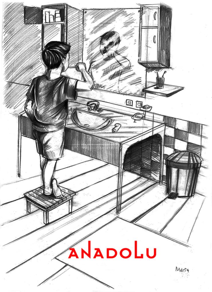 Karakalem Diş Fırçalayın Çocuk Çizimleri Çukurovada