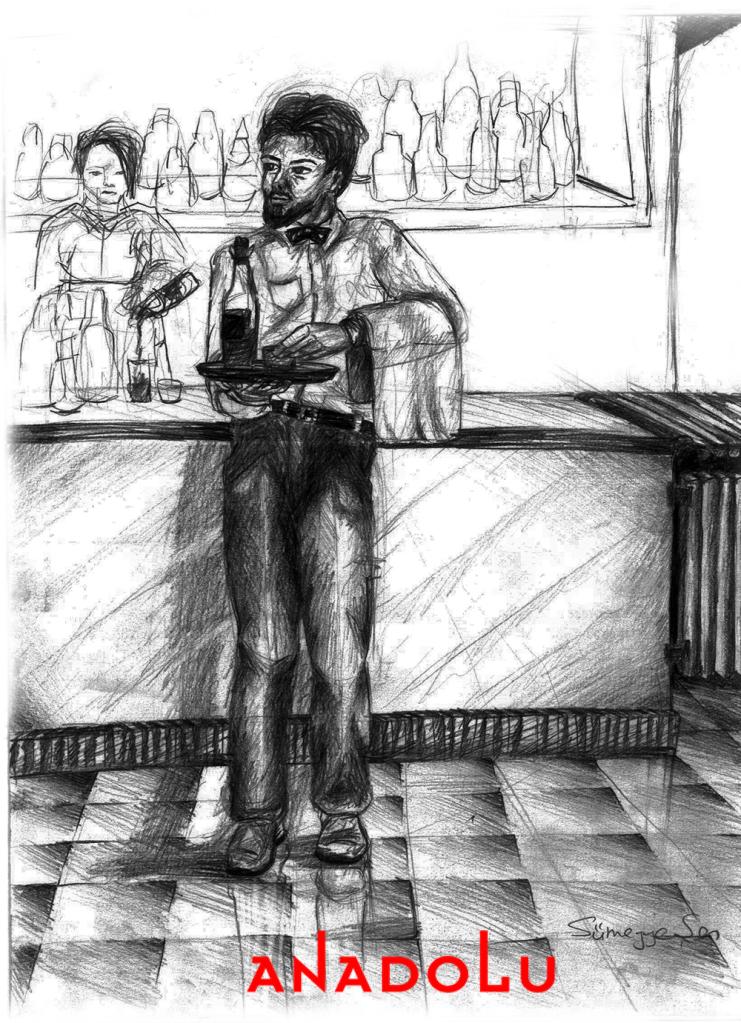 Karakalem Garson Çizim Örneği Çukurovada
