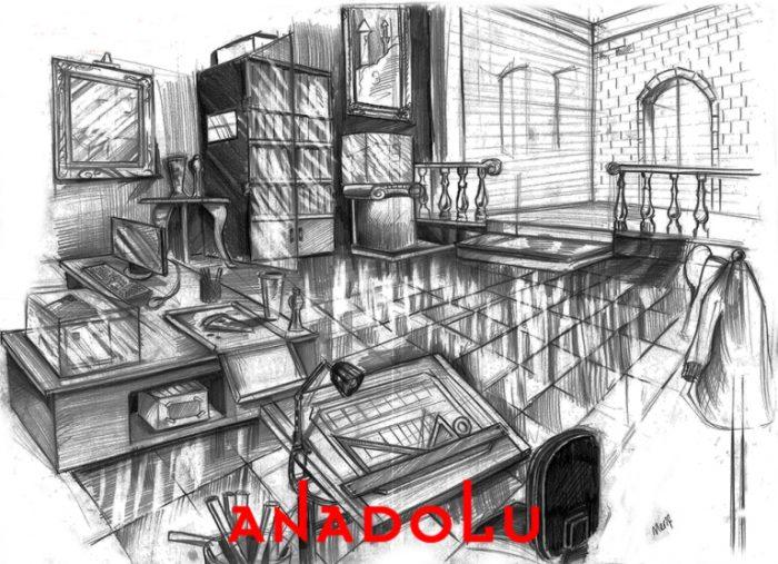 İmgesel Karakalem Bir Çalışma Odası Çizimi İstanbul