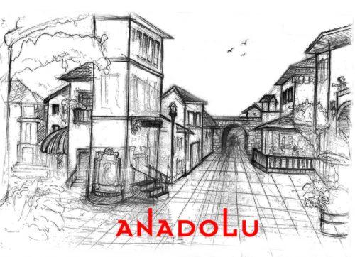 Karakalem Bir Sokak İmgesel Çizim Örneği İstanbul